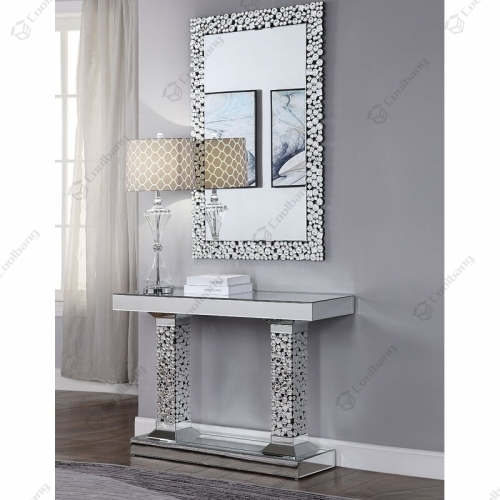 Crystal Console Table with Wall Mirror Set