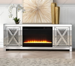 Floating Crystal TV Stand with Fireplace