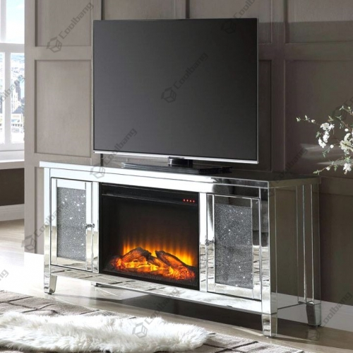 Living Room Crushed Diamond TV Stand with Fireplace