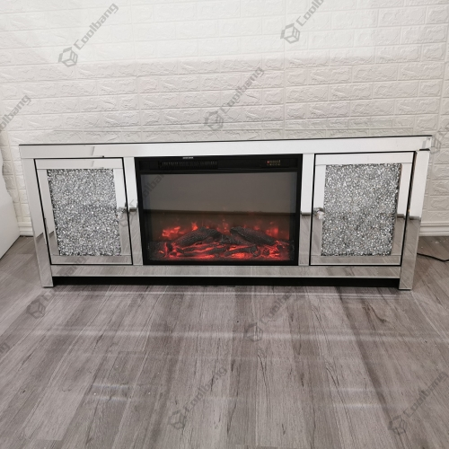 Living Room Crushed Diamond TV Unit Stand with Fireplace